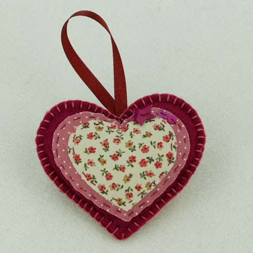 Pair of deep red heart felt decorations feltdecorations